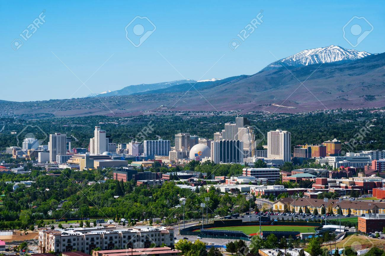 Reno, USA - May 31, 2016: Reno, known as The Biggest Little City in the World, is famous for it's casinos, and is the birthplace of the gaming corporation Harrah's Entertainment. - 79149267