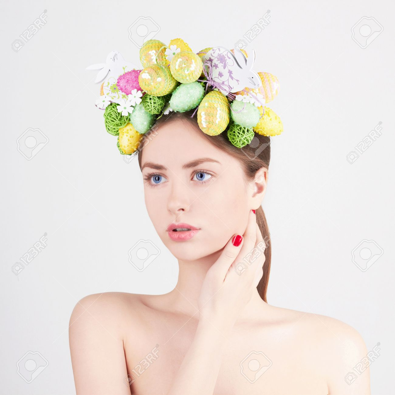 Beauty Model Girl With Colorful Eggs Holiday Easter Concept Stock Photo