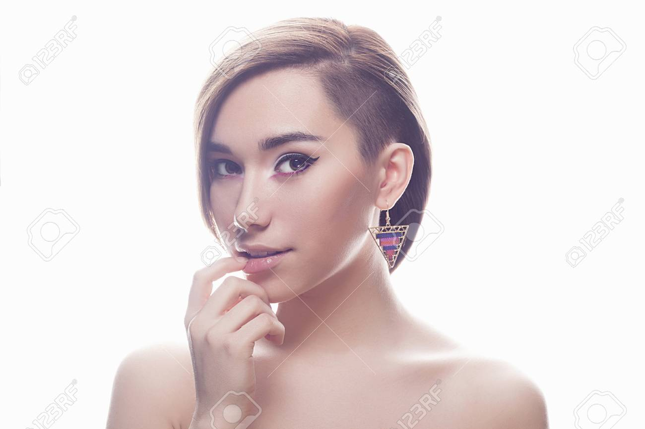 fashion portrait of beautiful young woman with short  haircut.Hairstyle.sweet..