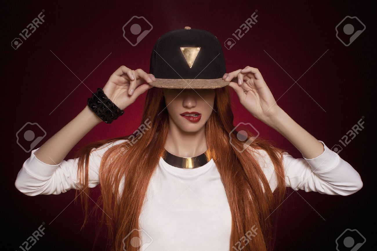 Amazing Hip Hop Woman In Cap With Long Red Hair Fashion Portrait Of Hairstyles For Men Maxibearus