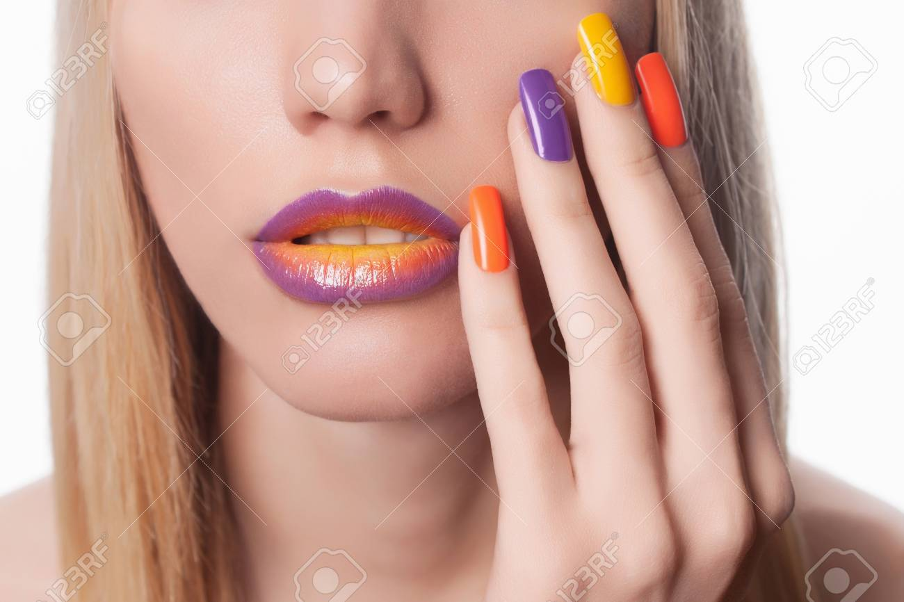 Blond Woman With Manicure.Beautiful Girl Model With Make-up And ...