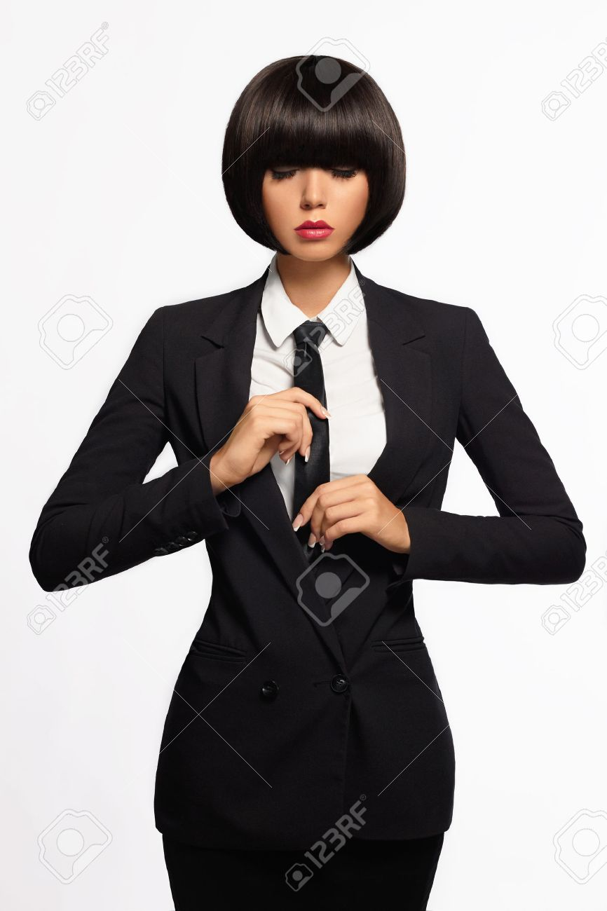 acd0f7ccc0e beauty business woman in formal suit and tie. bob haircut.isolated  beautiful girl in