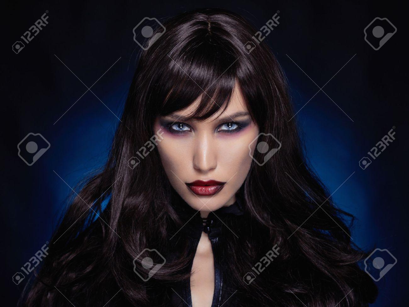 beautiful young vampire woman.black haired halloween girl - 46754189