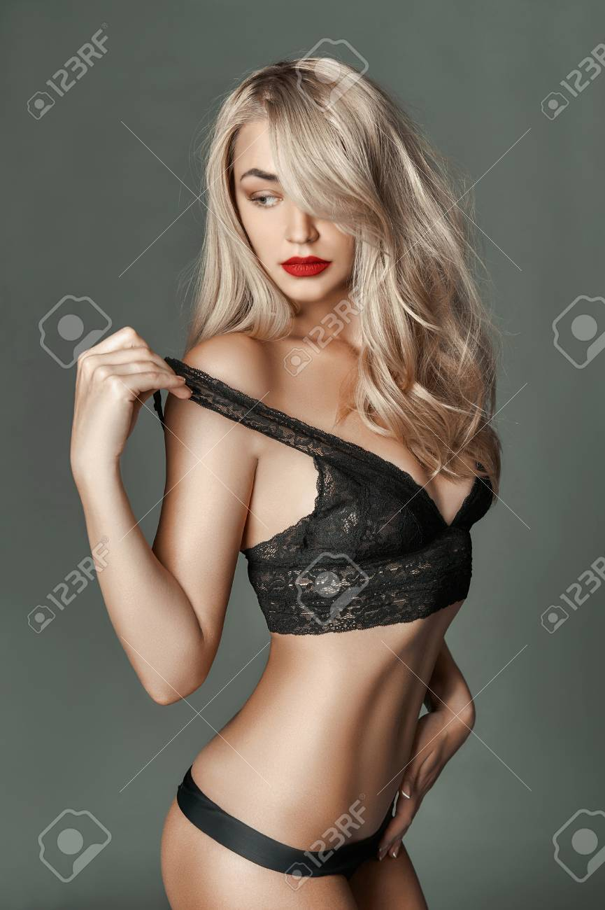 ef9a55775 fashion portrait of beautiful sexy girl in underwear.beauty blonde young  woman Stock Photo -