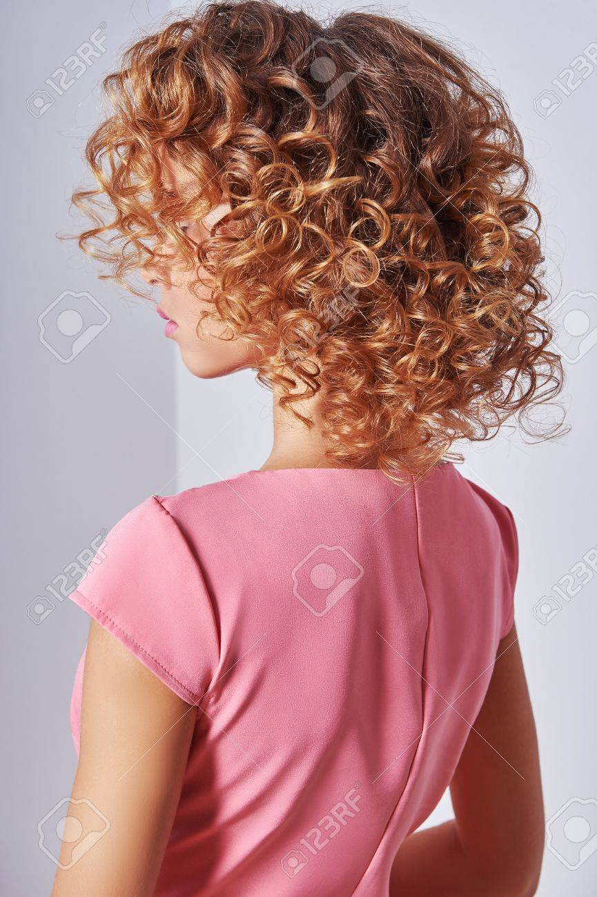 Beauty Girl With Blonde Curly Hair Healthy Blond Wavy Hair