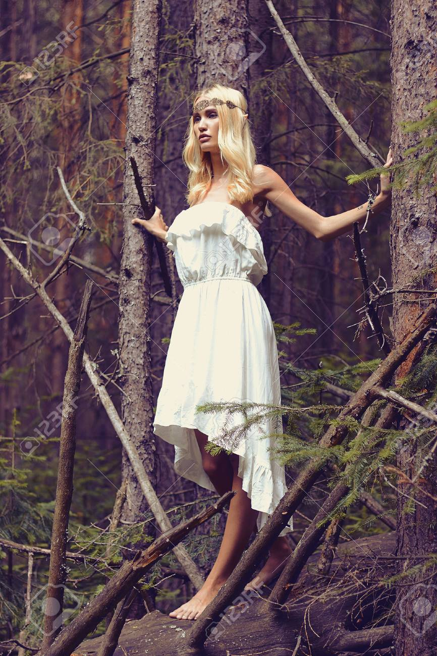 Fantasy girl in the woodsautiful blond young woman in forest fantasy girl in the woodsautiful blond young woman in forestmmer beauty blonde voltagebd Images