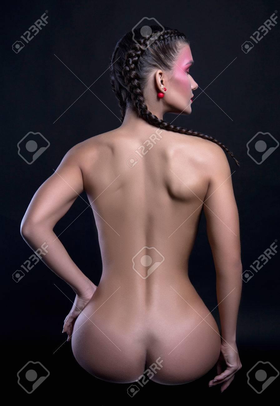 Hermoso Botín De Mujeres Desnudas Chica Sexy Desnuda Con Trenzas