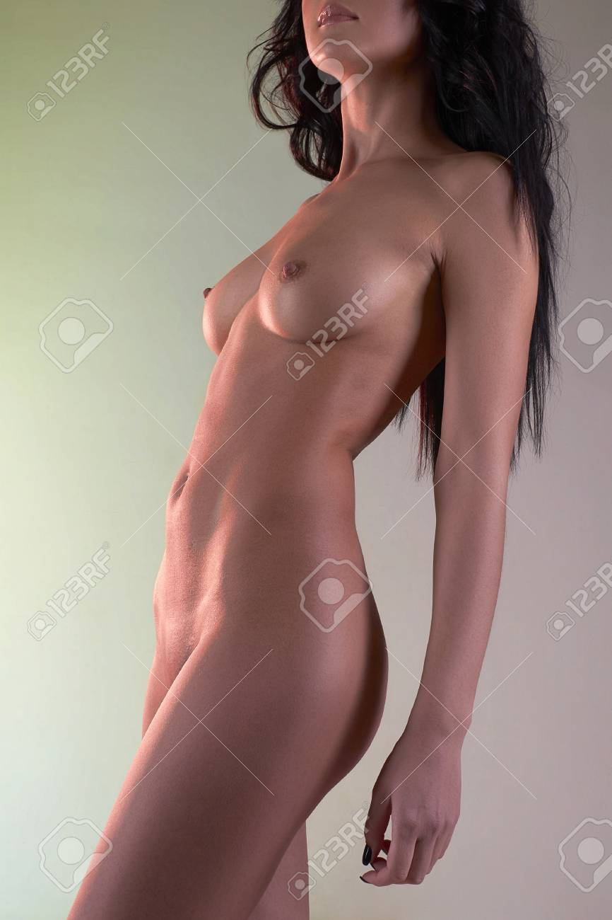 Sexy Nude Beautiful Girl Fashion Art Photo Of Perfect Body Woman In The Light Colored