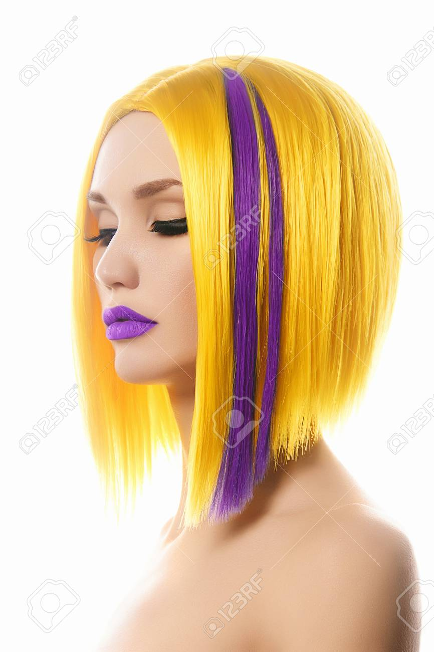 Yellow purple Hair  Haircut  Beautiful Girl with Color Hair