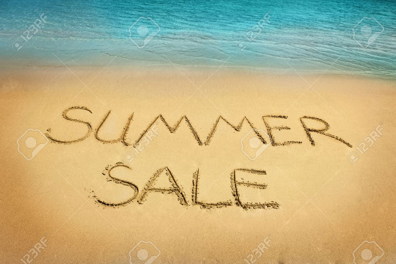 Sand For Sale >> Summer Sale Letters Written On The Sand Beach