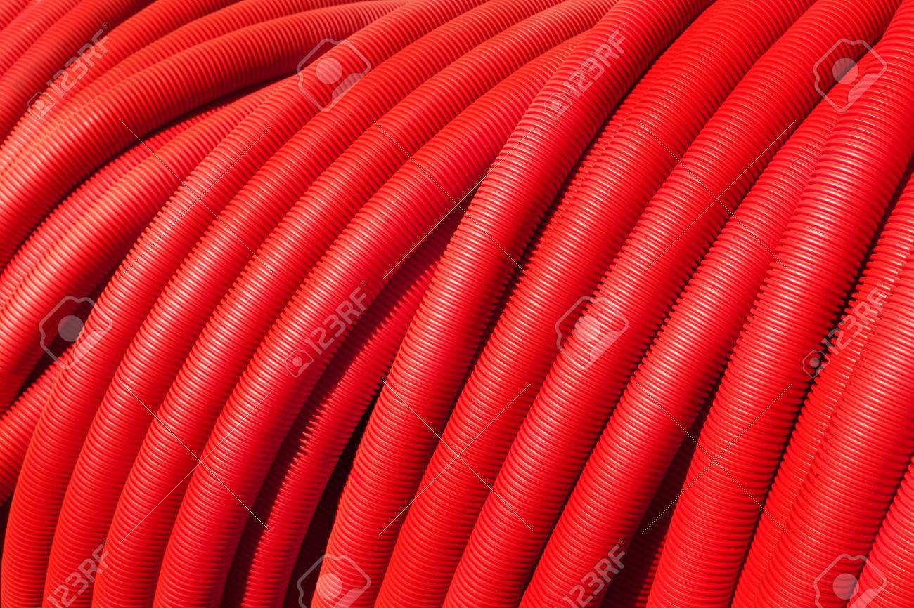 Tubing Red Plumbing Pipe Plastic Pvc Close Up Stock Photo Picture Through Which Electrical Wires Are Run This Conduit 56590199