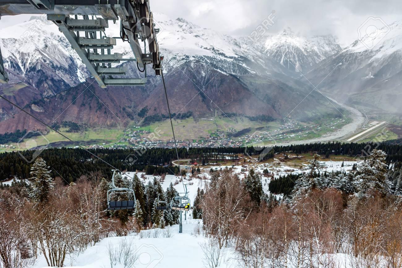 view from hatsvali (khatsvali) ski resort cableway in winter