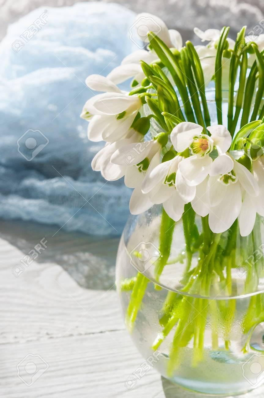 Blumenstraußschneeglöckchen Auf Hölzernem Hintergrund- Und ...