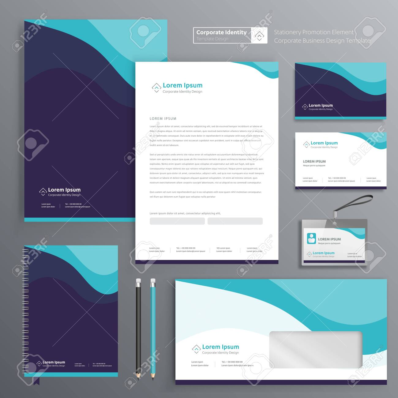 Corporate Business Identity template design Vector abstract stationery , Gift Items Color promotional souvenirs elements. link digital technology set, - 137491920