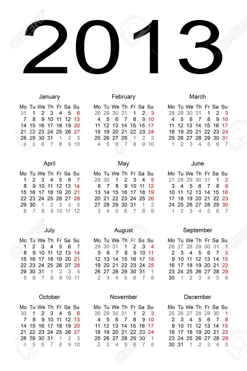calendar 2013 Stock Vector - 17284813