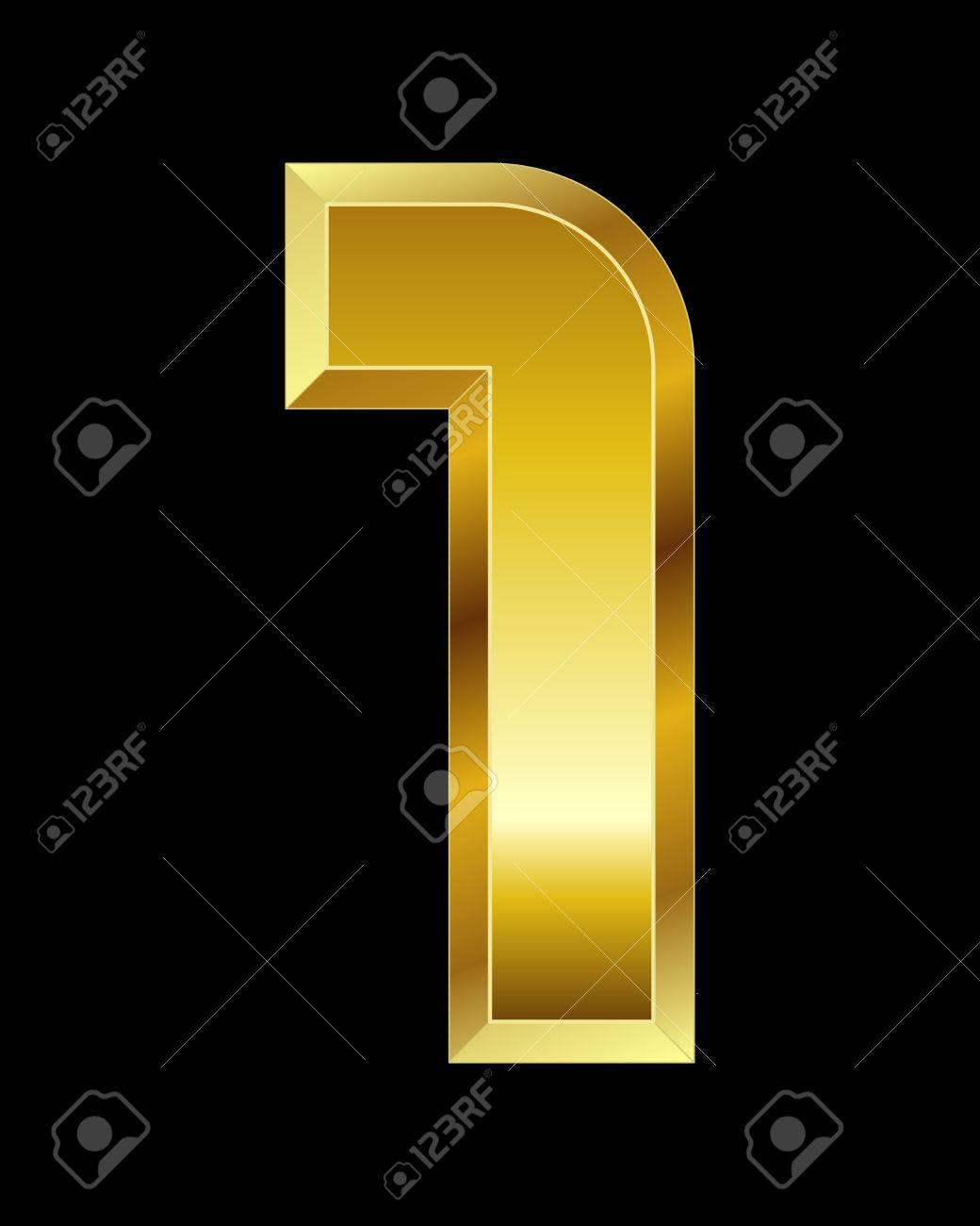 rectangular beveled golden font - number 1 - 33560017