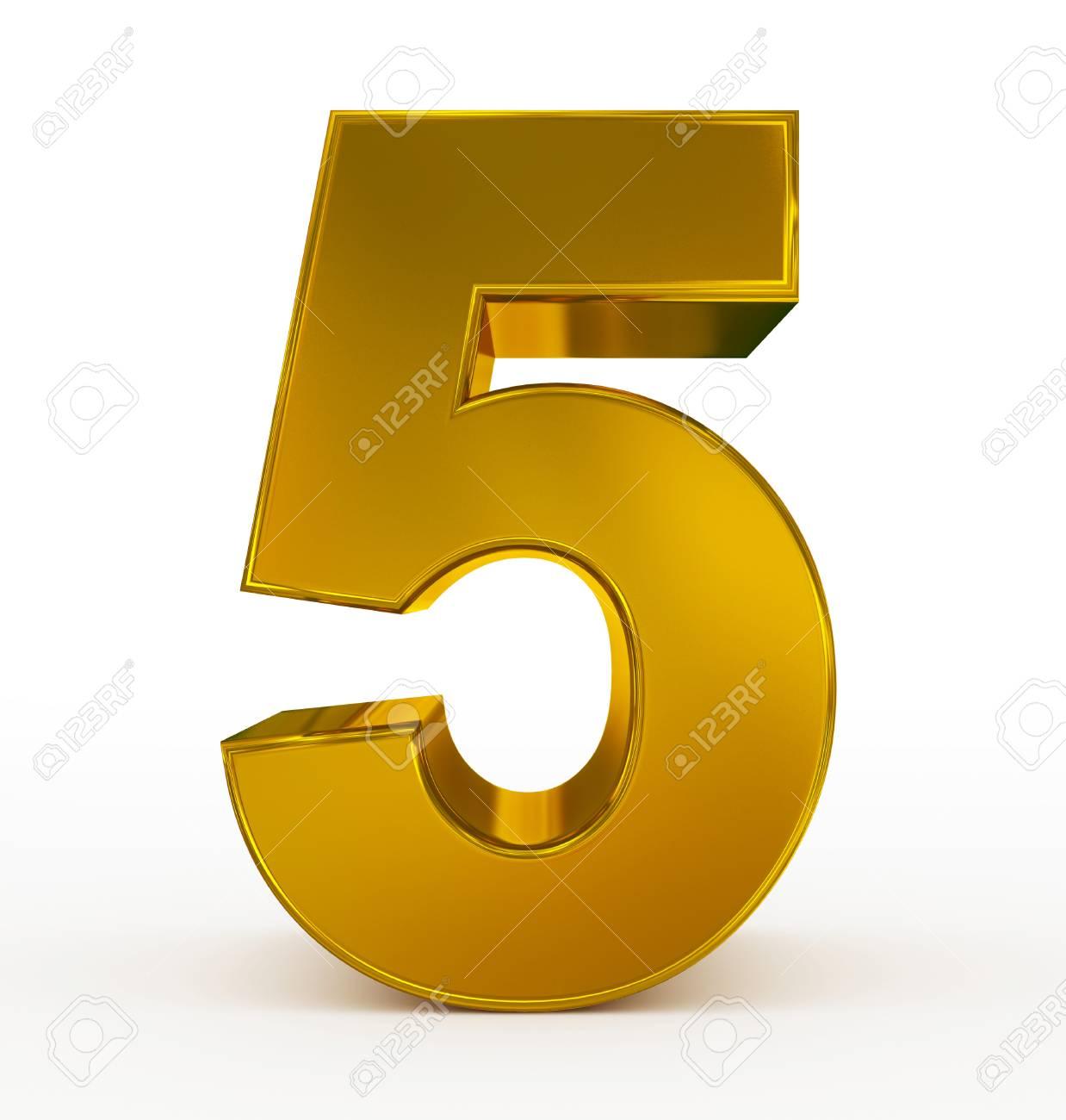 número 5 3d dorado aislado en blanco representación 3d fotos