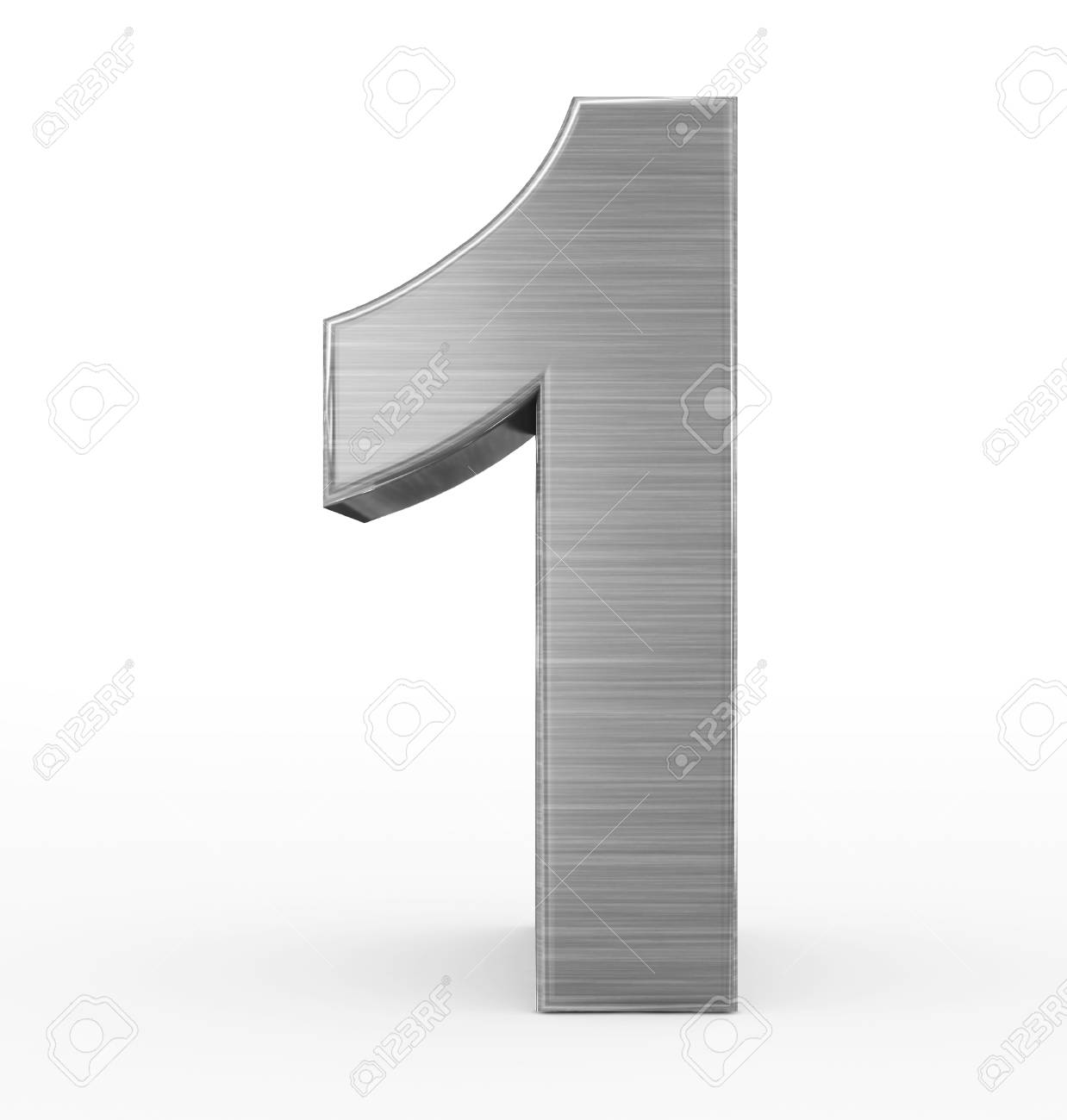 number 1 3d metal isolated on white - 3d rendering - 77450506