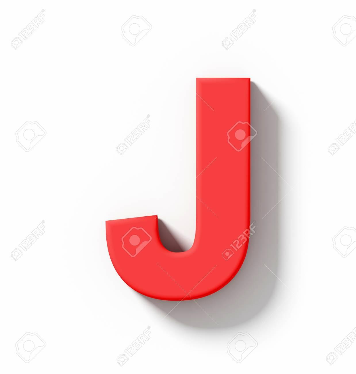 Letra J 3D Rojo Aislado En Bla...