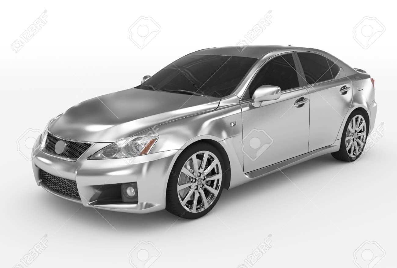 car isolated on white - silver, tinted glass - front-left side view - 3d rendering - 87545765