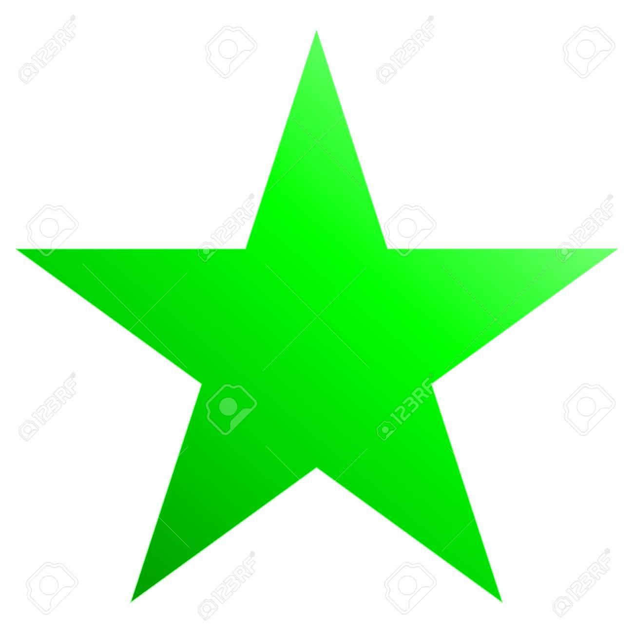 Kerstster Groen - Eenvoudige 5-punts Ster - Geïsoleerd Op Wit ...