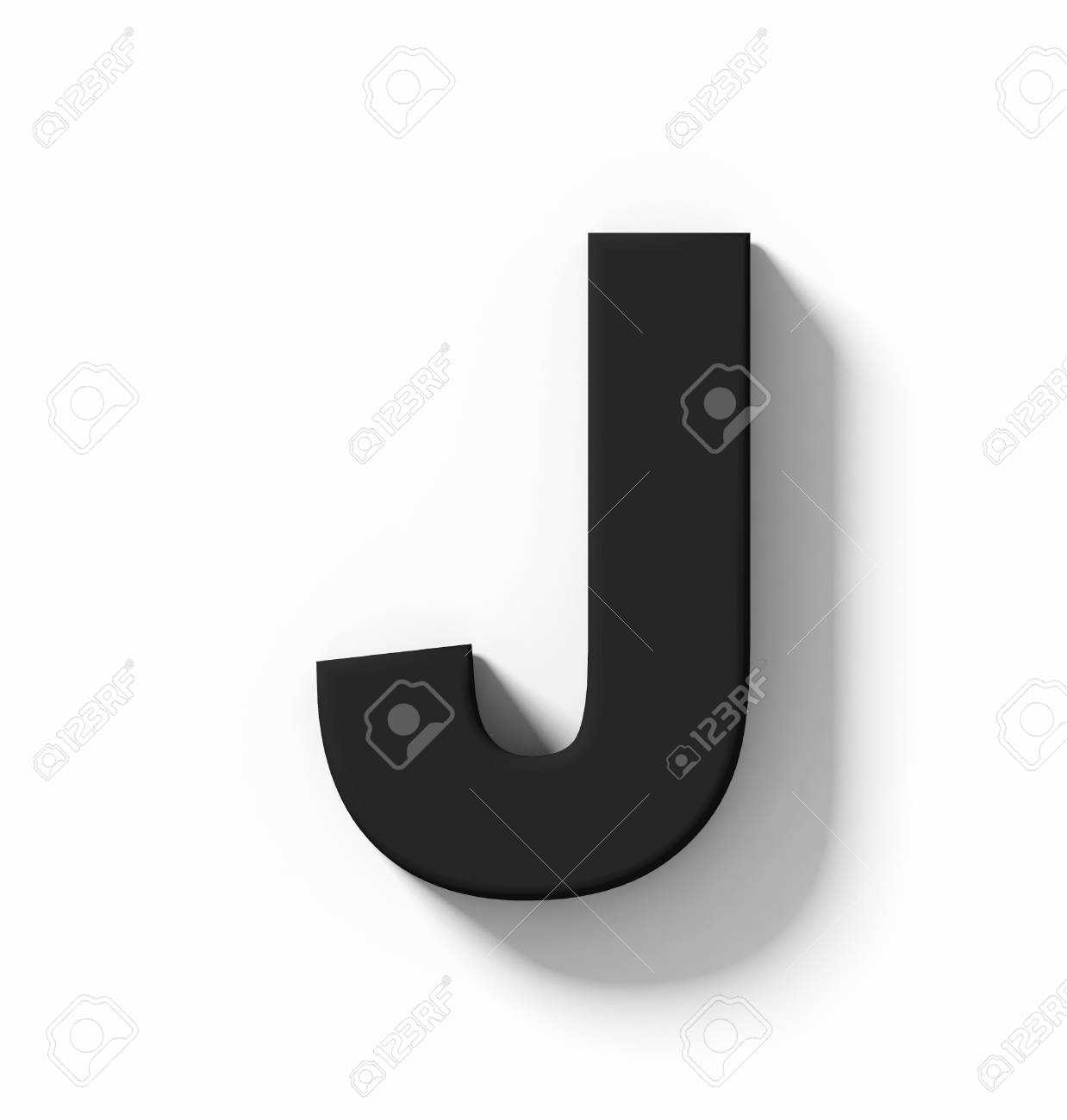 letter J 3D black isolated on white with shadow - orthogonal projection - 3d rendering - 107098828