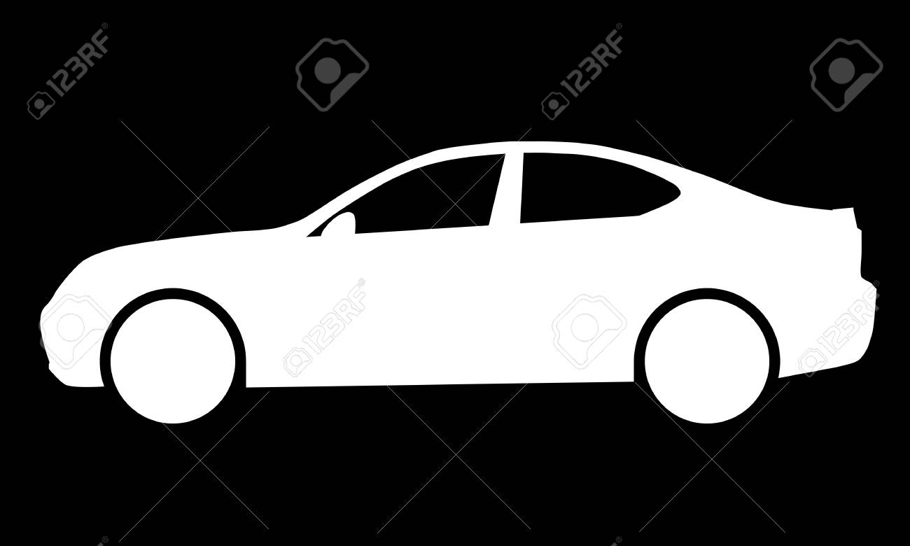 Car symbol icon - white, 2d, isolated - vector illustration - 127722048
