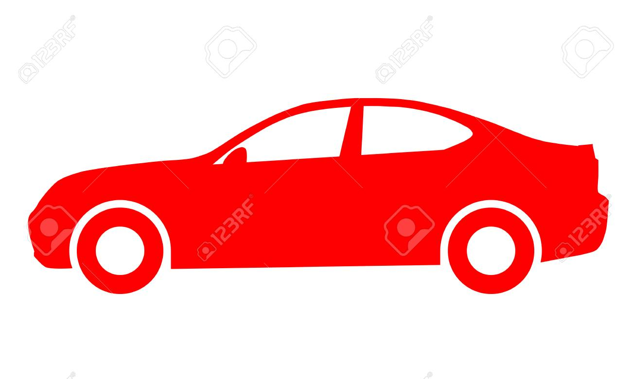 Car symbol icon - red, 2d, isolated - vector illustration - 127712848
