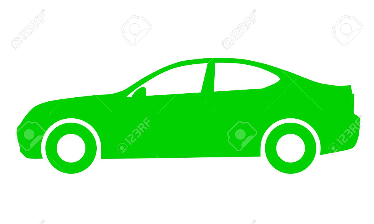 Car symbol icon - green, 2d, isolated - vector illustration - 127712851