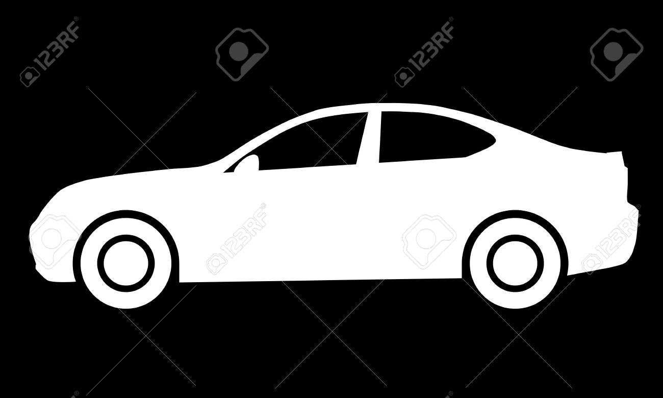 Car symbol icon - white, 2d, isolated - vector illustration - 127699797