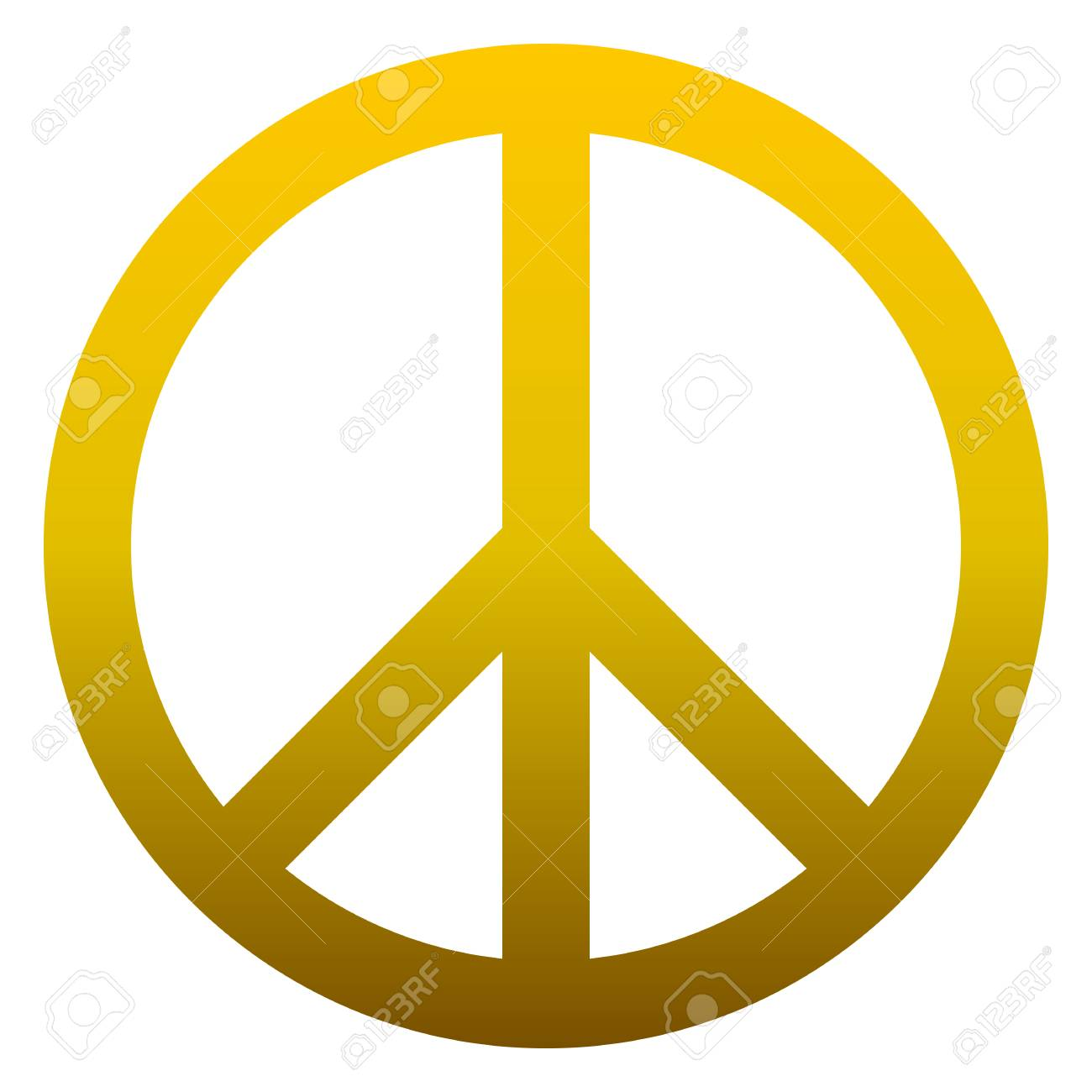 Peace symbol icon - golden simple gradient, isolated - vector illustration - 126785363