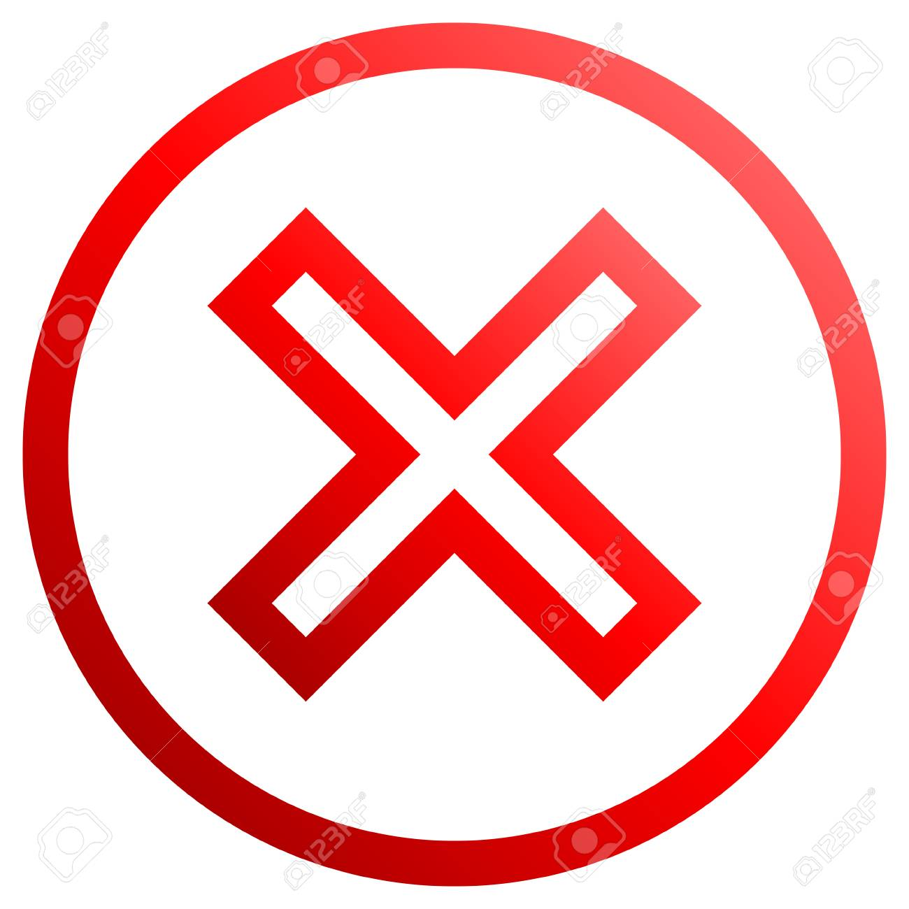 Check marks - red gradient outline, cross icon inside of circle - vector illustration - 117662363