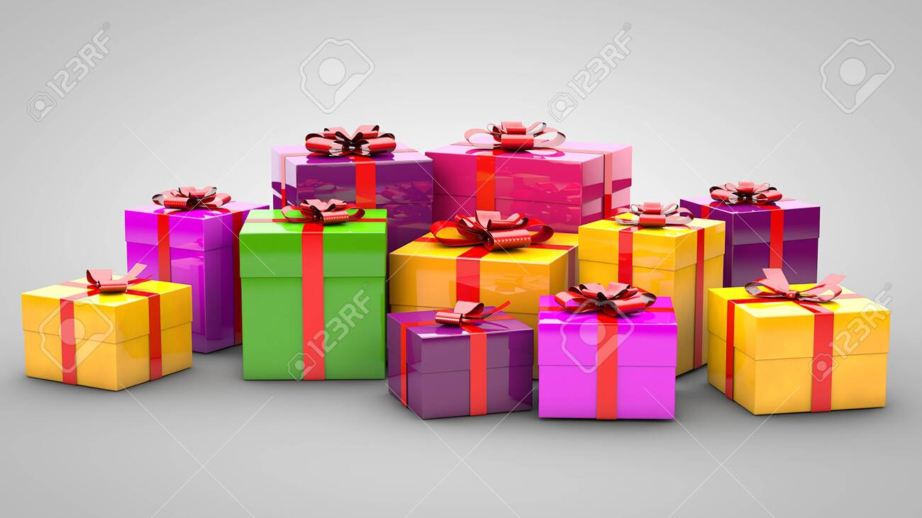 A pile of gifts on a gray background - 139906344