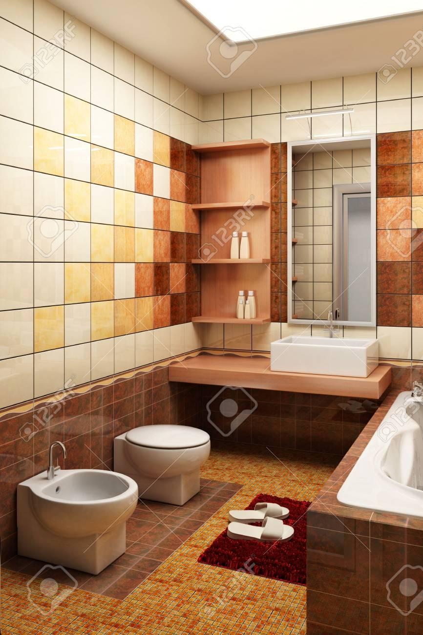Representación 3d del cuarto de baño moderno con los azulejos