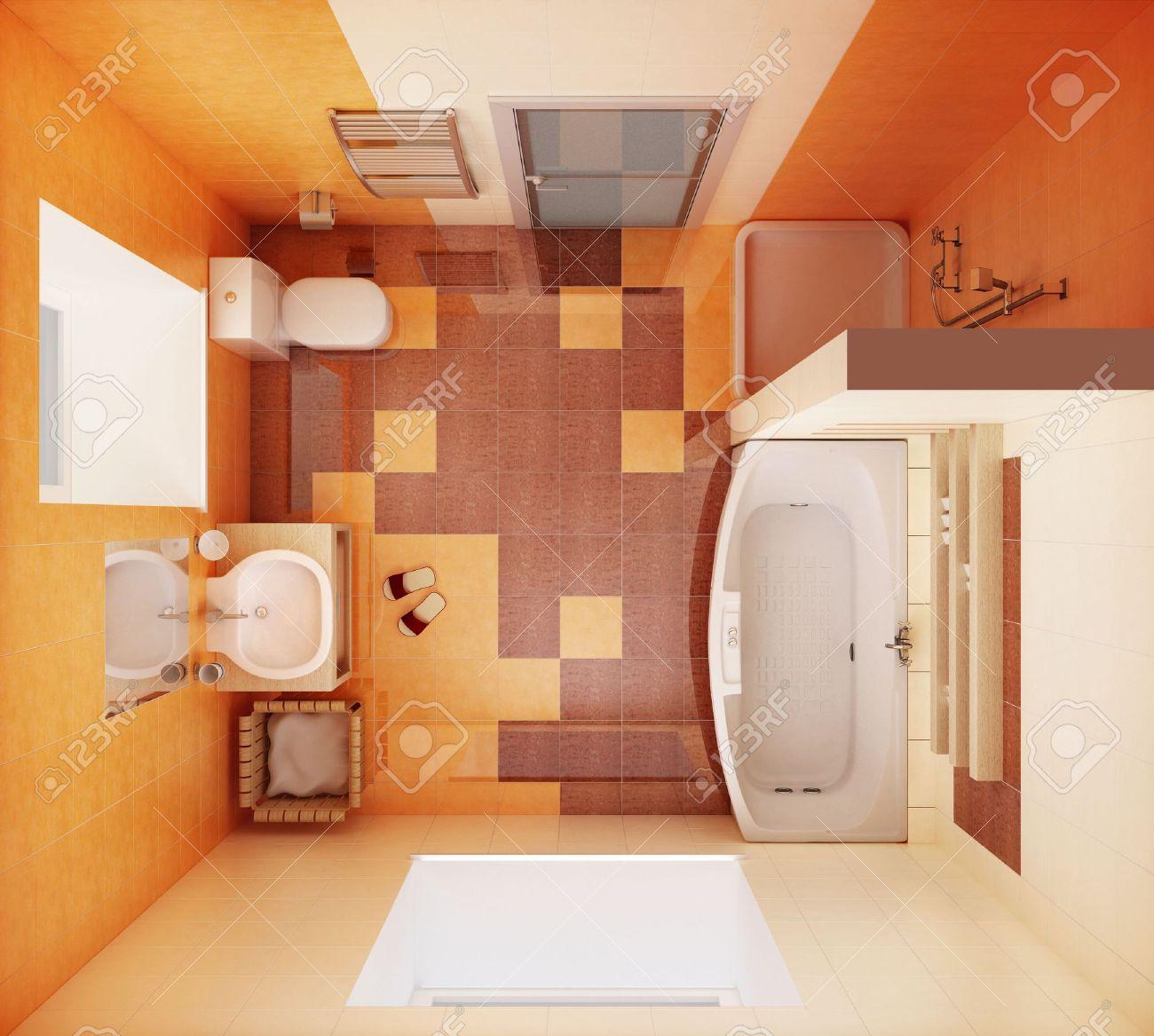 3d-rendering Der Modernen Badezimmer Aus Der Ansicht Von Oben ... Badezimmer Von Oben