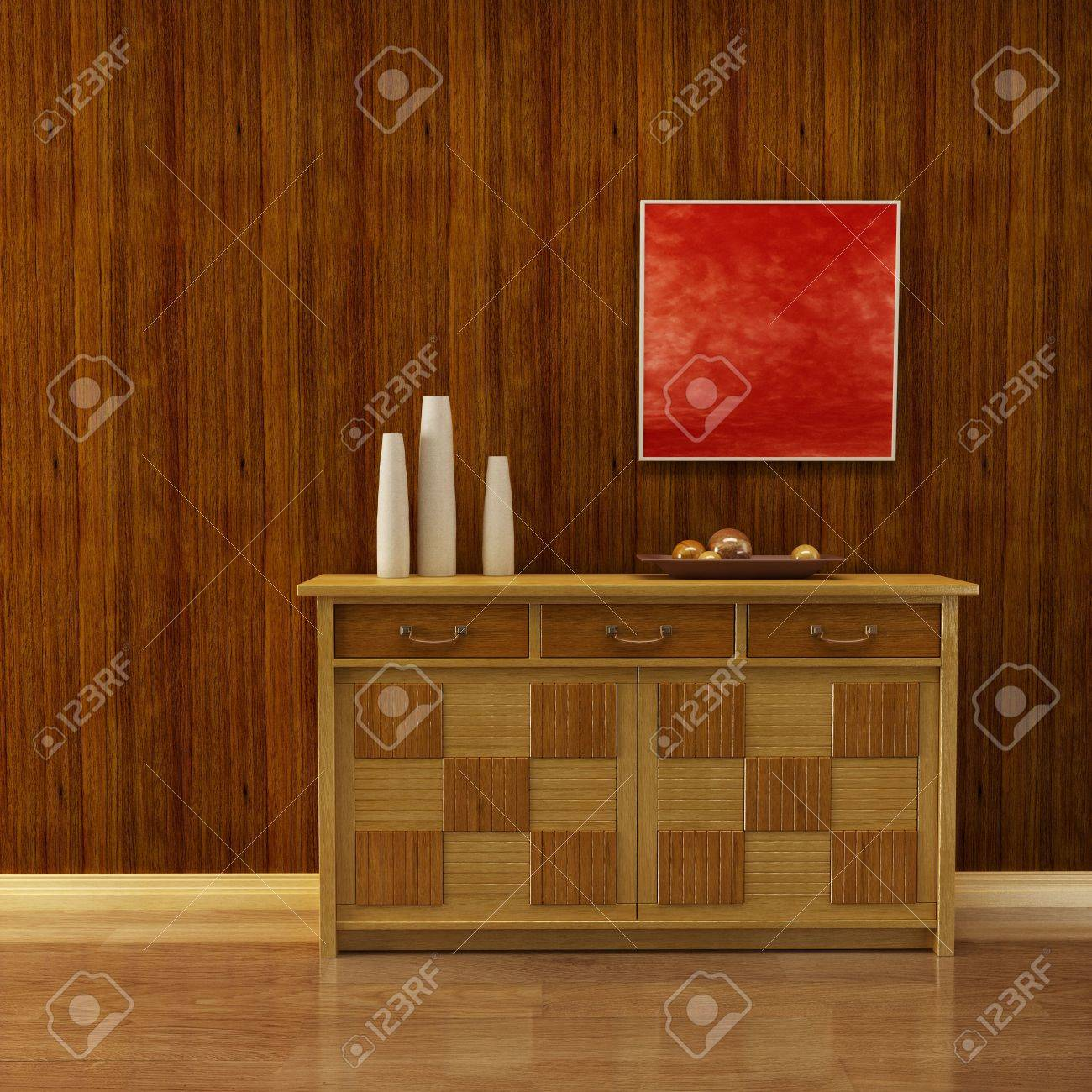 3d interior with classic cupboard beside wooden wall Stock Photo - 2119164