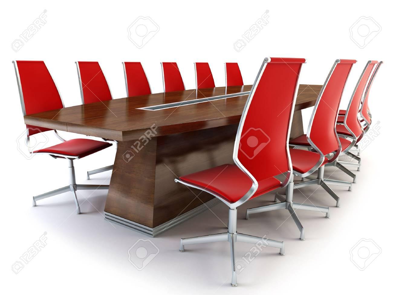 Sala riunioni con tavolo e sedie d rendering su sfondo bianco