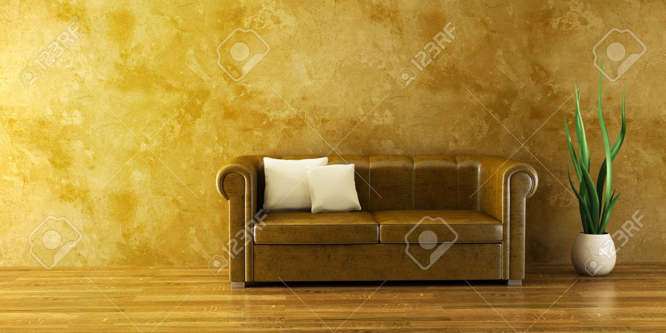 3d interior with modern couch and plant Stock Photo - 2369921