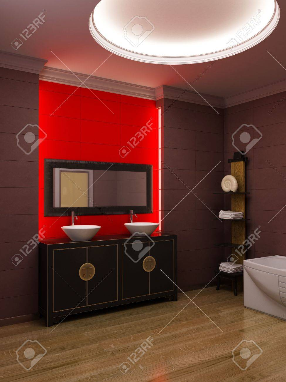 3d rendering of the asian bathroom Stock Photo - 3358732