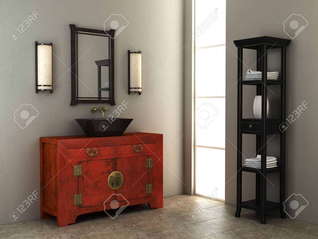 3d Rendering Of The Chinese Bathroom Stock Photo   3358736