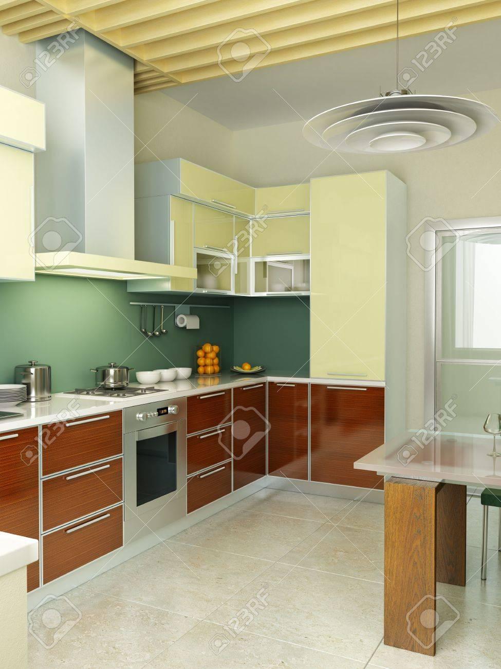 Moderne Küche Interieur 3D-Rendering Lizenzfreie Fotos, Bilder Und ...