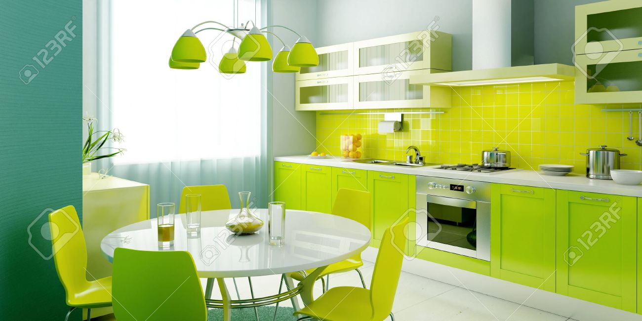 Modern Kitchen Interior Rendering Stock Photo Picture And