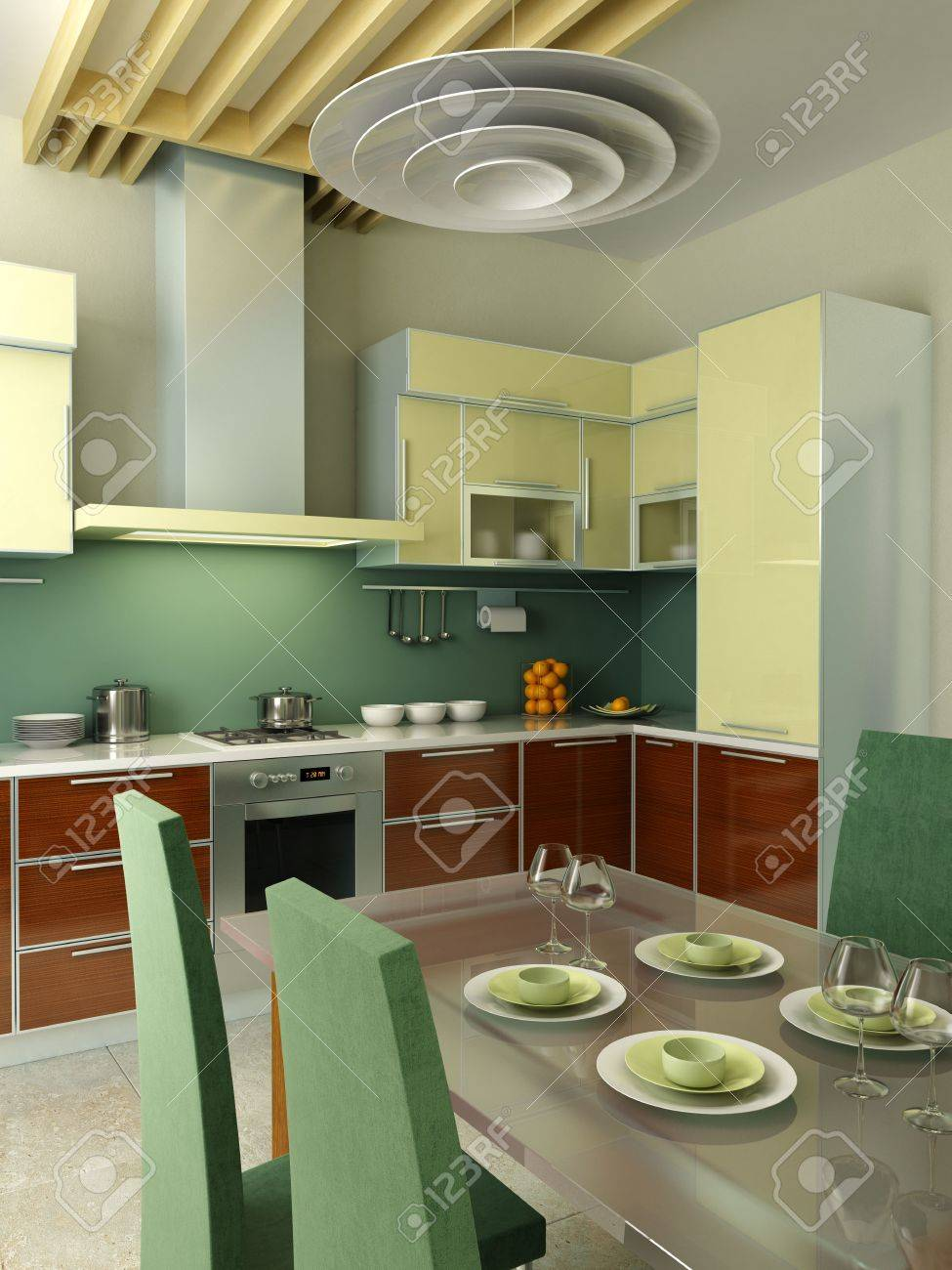 Modern Kitchen Interior Modern Kitchen Interior 3d Rendering Stock Photo Picture And