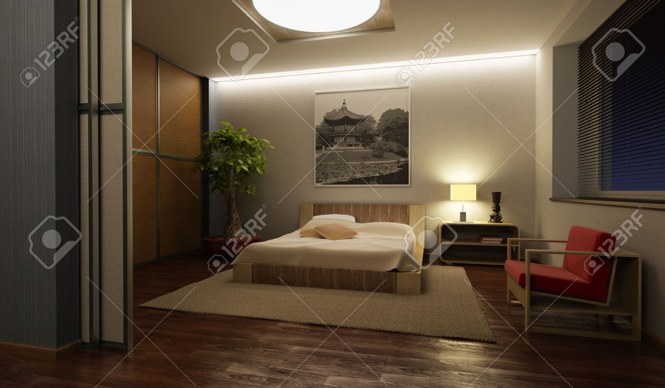 japan style bedroom interior 3d rendering Stock Photo - 5511426