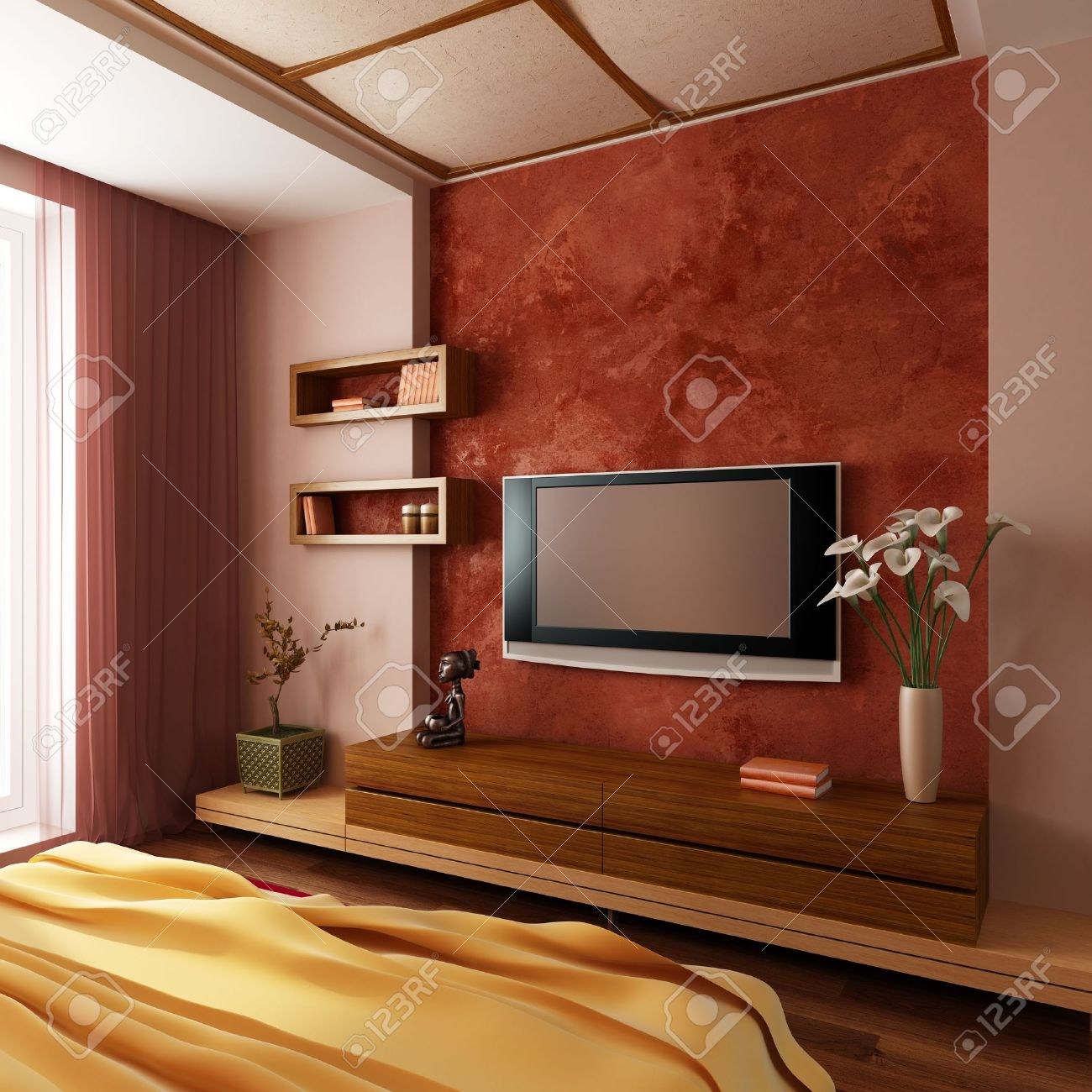 Attrayant 3d Design Bedroom. Modern Style Bedroom Interior 3d Rendering Design