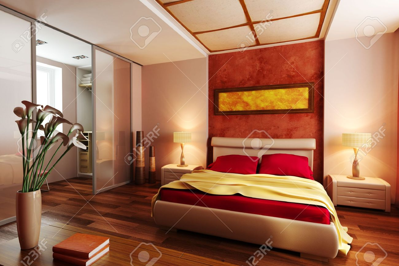 Modern Style Bedroom modern style bedroom interior 3d rendering stock photo, picture