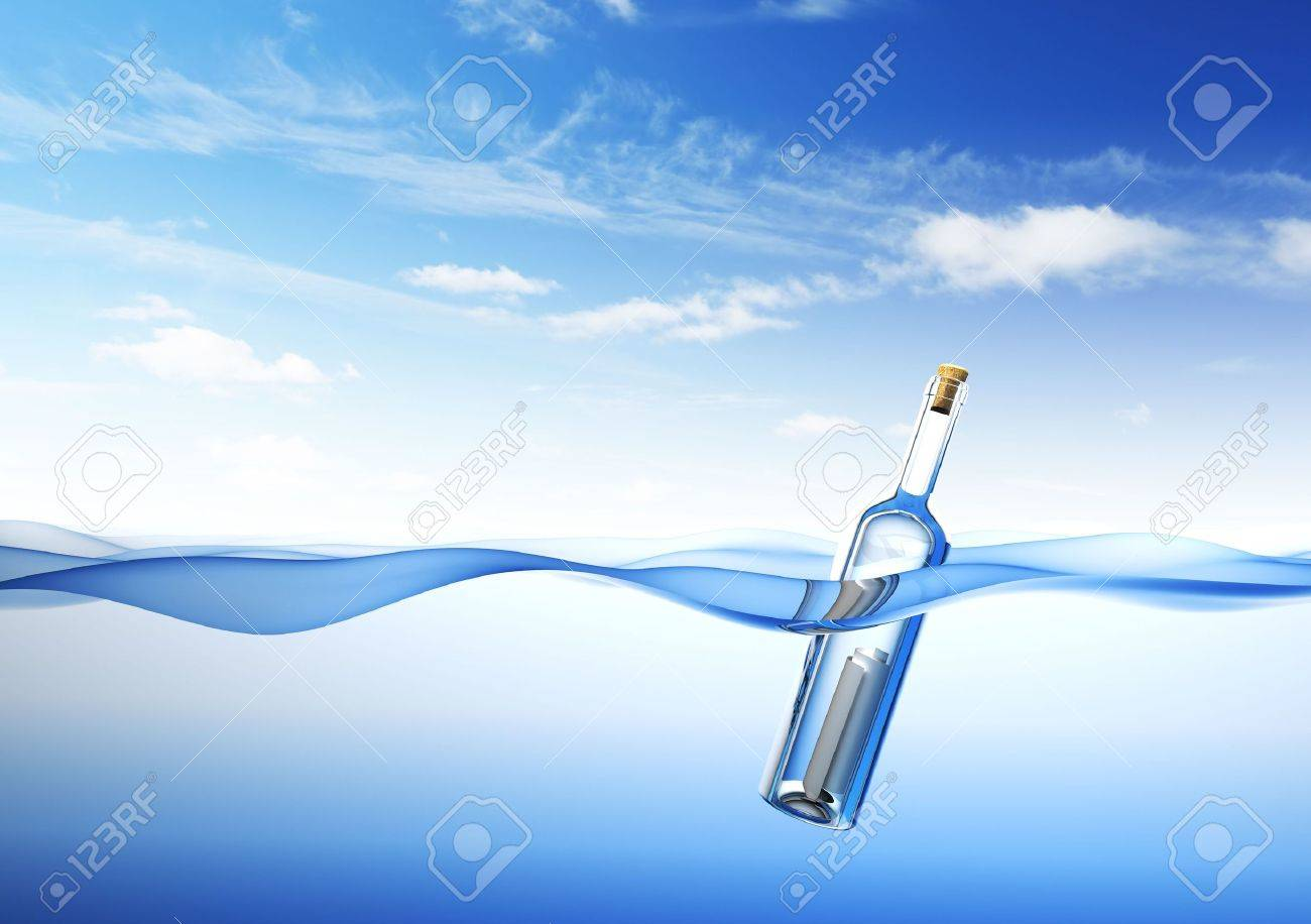 Message in a Bottle. 3d rendering Stock Photo - 6817151