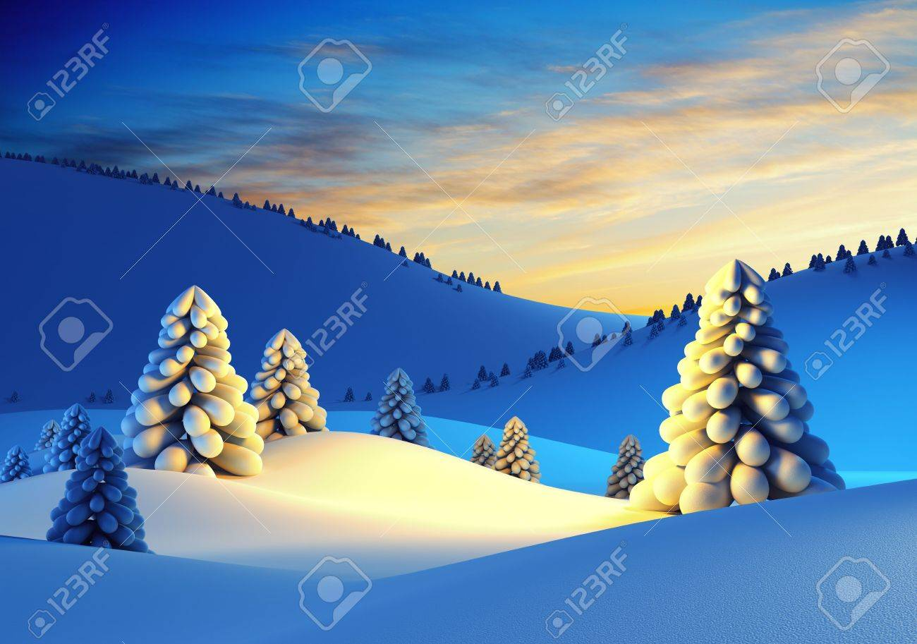winter landscape with fir trees, 3d rendering - 7150798