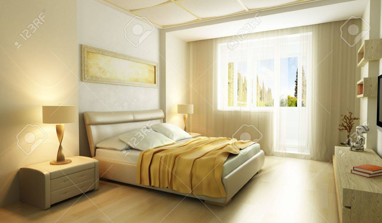 modern style bedroom interior 3d render stock photo 7924307