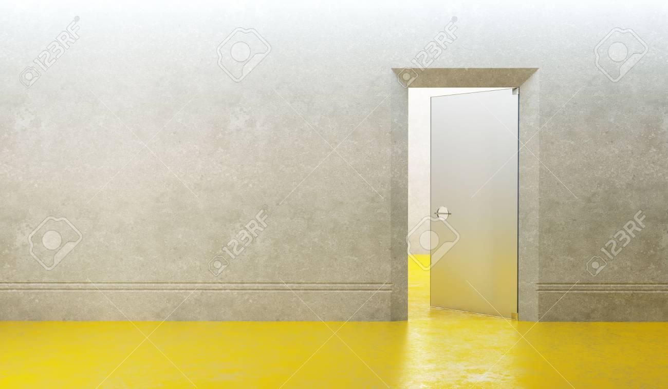 3d rendering the empty room with door Stock Photo - 7981424